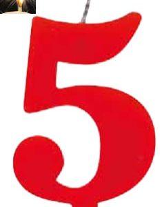 Vela Vermelha mágica número 5