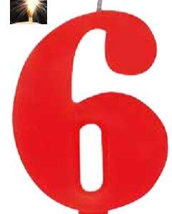 Vela Vermelha mágica número 6