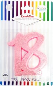 Vela Rosa glitter número 18