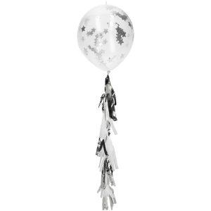Balão Latex confetti ESTRELA PRATA
