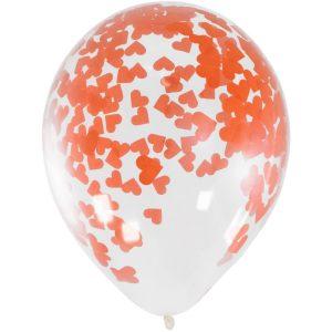 Balão Latex confetti CORAÇÃO VERMELHO