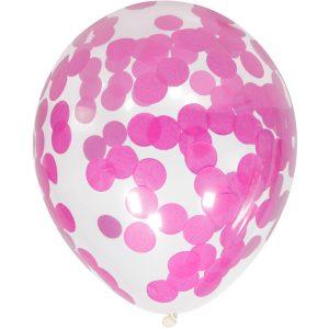 Balão Latex confetti REDONDO ROSA