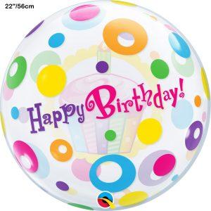 Balão Bubble CUPCAKE HAPPY BIRTHDAY 22
