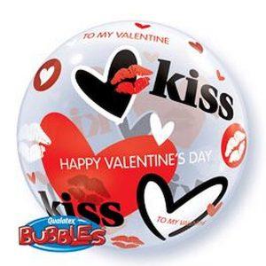 Balão Bubble CORAÇÃO KISS 22
