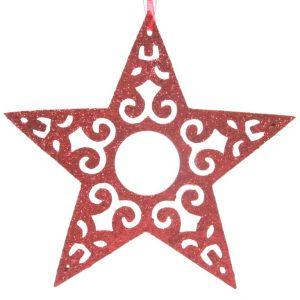 3 Estrelas Vermelha com glitter