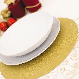 Marcador de mesa redondo dourado