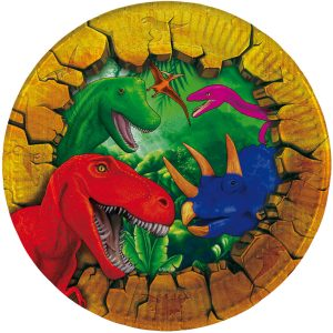 Pratos Papel Redondo Dinossauros