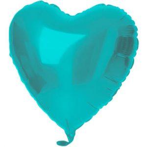 Balão Coração Foil VERDE ÁGUA MATTE 18