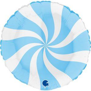 Balão Foil Redondo Espiral Azul Matte