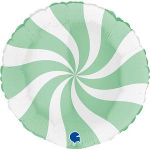 Balão Foil Redondo Espiral Verde Matte