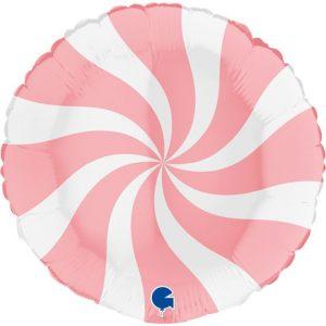 Balão Foil Redondo Espiral Rosa Matte