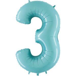 Balão Foil AZUL MATTE Número 3