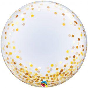 Balão Bubble Confetti Dourado 24