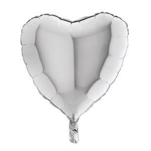 Balão Coração Foil PRATA 18