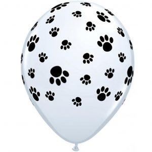 Balão Latex Branco Patinhas Pretas 11