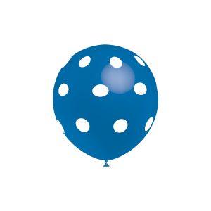 Balão Latex cor AZUL BOLINHAS BRANCAS 12