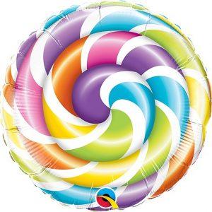 Balão Foil Redondo Espiral Multicolor 9