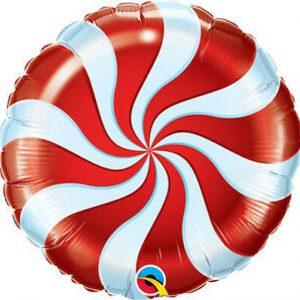 Balão Foil Redondo Espiral Vermelho 18