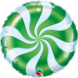 Balão Foil Redondo Espiral Verde 18
