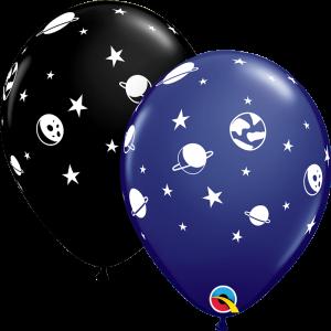 Balão LATEX PRETO COM PLANETAS 11